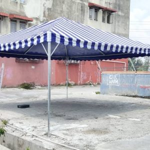 Pyramid Canopy Stripe Blue and White