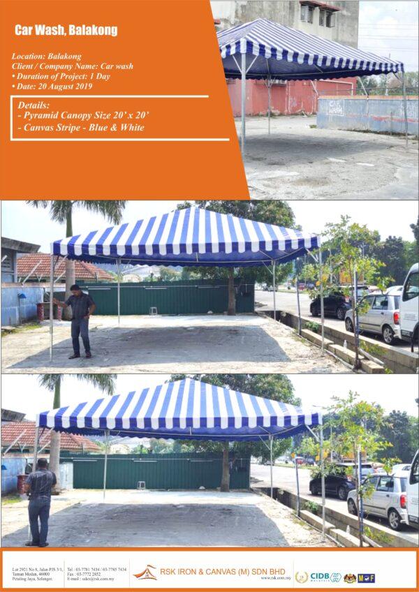 Car Wash Balakong - Pyramid Canopy Stripe Canvas