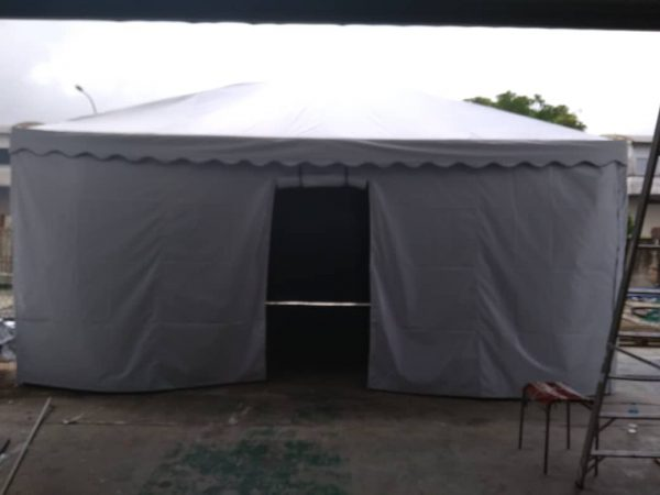 Pyramid Canopy with Sidewall + Rollup Door
