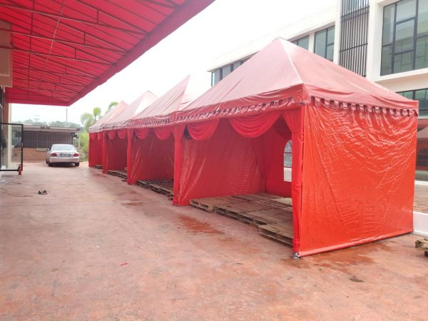 Red Pyramid Canopy with Transparent Window