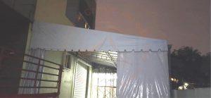 Oneside canopy with sidewall trolley track