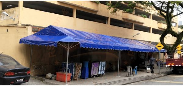 Blue A-Shape Canopy cw Awning