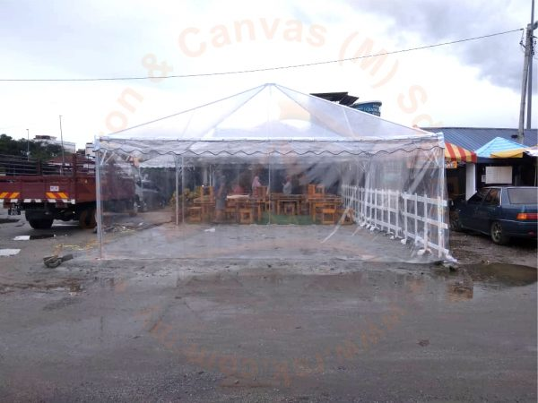 Pyramid Transparent Canopy with Transparent Sidewall