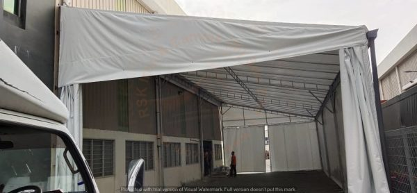 Oneside Canopy attach factory with sidewalls & Trolley Track