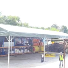 Custom-size A-shape canopy with green canvas-3