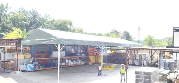 Custom-size A-shape canopy with green canvas