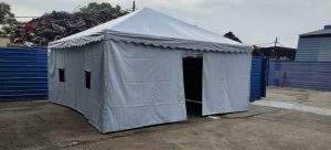 Pyramid Canopy with Netting Window & Canvas Rollup Door