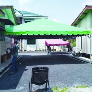 1 set Green Color Pyramid Canopy with Logo in Desa sg udang
