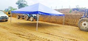 Pyramid Canopy with Blue Canvas