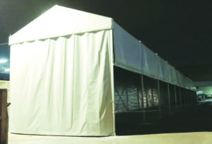 6m marquee Tent (13 Blog) with Trolley Track Sidewall and Plain Sidewall